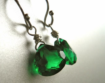 Emerald Earrings, emerald quartz, emerald dangle, Sterling or Gold Available, emerald green earrings, Teeny Emerald Green Earrings