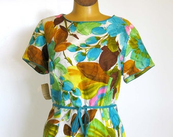 1960s Dress / Tropical Print Dress with Side Pockets and BlueTie Belt / Flutterbye / With Tags
