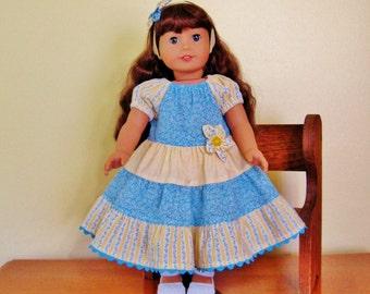 "18"" doll peasant dress, pink & yellow, tiered skirt, matching headband, ready to ship, handmade, birthday gift, doll clothing, fabric flower"