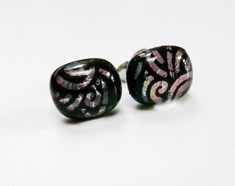 Black Gold Earrings Post Earstuds Studs Gold Swirl Dichroic Black Glass Fused Earrings