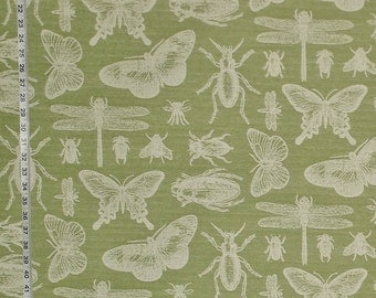 Bug fabric insect fabric green fabric butterfly fabric dragonfly fabric modern fabric cottage fabric home decorating FREE SHIPPING  1 yd