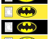 Batman Superhero water bottle label - Superhero party - Super Hero Party Printables- Comic- INSTANT Download