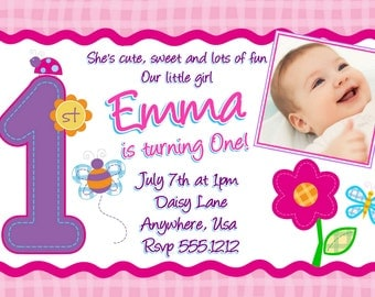 Girls Hugs and Stitches Birthday Invitation, Sweet Girls 1st Birthday Invitations, Butterfly Invitations, Digital File