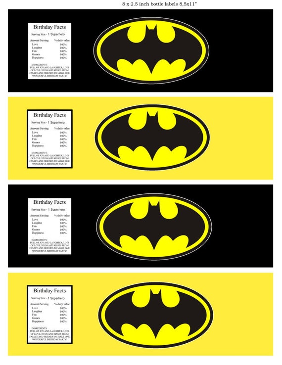 Batman Superhero water bottle label Superhero party Super