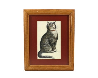 Vintage Tabby Cat Framed Print, Gray & White Kitten, Natural Wood Frame