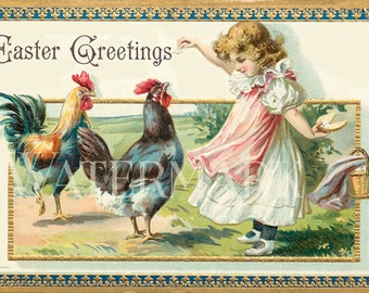 Easter Girl with Roosters Victorian Post Card Ephemera Postcard  Vintage Scrapbooking Instant Digital Download
