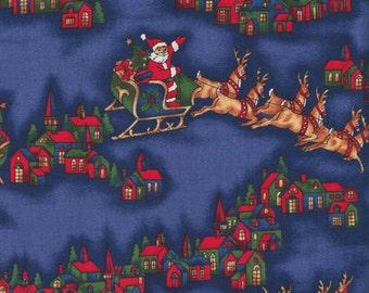 Hoffman Christmas Season Greetings 9725 128 Blue Santa Sleigh by the yard