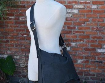 Black Bison Leather Messenger with Adjustable Strap Bag