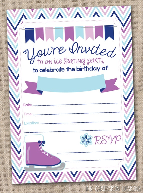 Instant Download Ice Skating Birthday Party By