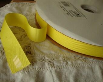 "yellow Ribbon grosgrain 6 yards 5/8"" crafts supplies Ribbon destash creamy yellow fabric art supplies"
