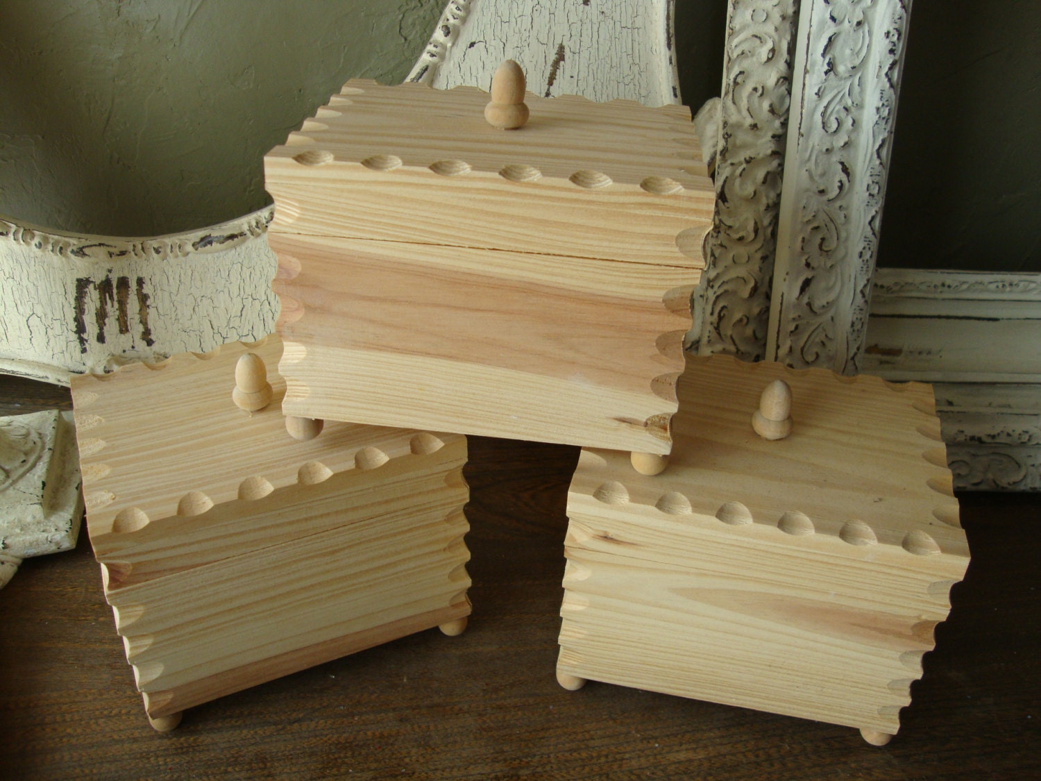 Unfinished Wood Boxes with Lids
