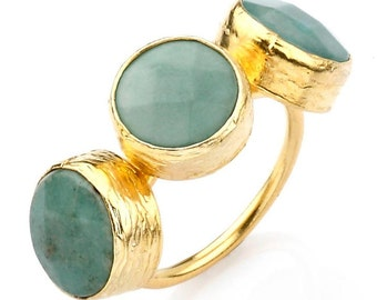 Three apple jade dots ring