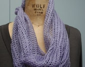 Knit Lightweight Mohair Pull-Over Cowl Lavender