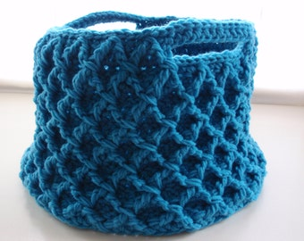 Crochet Lattice Pattern Basket with Handles Great for Storage in Blue