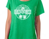 Funny St. Patricks Day tshirt womens t-shirt Everyone is Irish Vintage flowy dolman scoop neck tshirt wife gift graphic tee shirt green