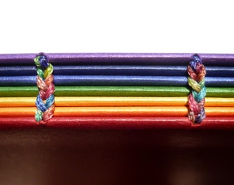 Rainbow Book : Coptic Binding  Curious Metallics  Paper Blank Book  - Travel Notebook -  Sketchbook