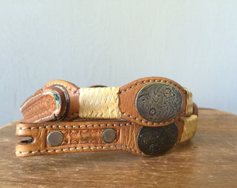 Vintage EMBOSSED Belt • 1990s Accessories • Womens Brown Leather Woven Studded Concho Cowgirl Southwestern Western Wear • Detachable Buckle