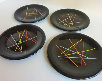 Black Fused Glass Dessert Plates or Salad Plates - Set of Four by BPRDesigns