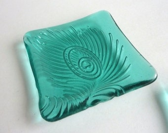 Light Aqua Fused Glass Peacock Feather Imprint Plate