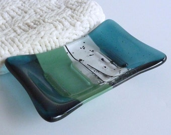 Fused Glass Soap Dish in Sea Blue and Mineral Green