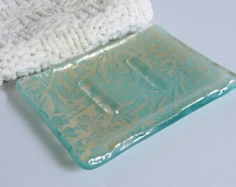 Aqua and Silver Glass Soap Dish by BPRDesigns