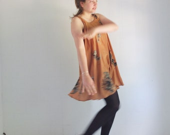 Caramel Colored Crepe de Chine -swinging circle dress - fits all - made by me