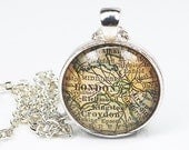 London Map Necklace- London Necklace, London Map Pendant, Vintage Map Pendant Jewelry from a 1929 Atlas, England Map Necklace