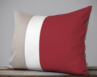 Custom MARSALA Color Block Pillow Cover Modern Home Decor by JillianReneDecor   Minimal   Linen Colorblock Pillow   2015 Pantone