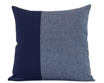 Navy Chambray Colorblock Pillow Cover (20x20) - Modern Home Decor by JillianReneDecor - Nautical Pillows - Indigo Blue Linen