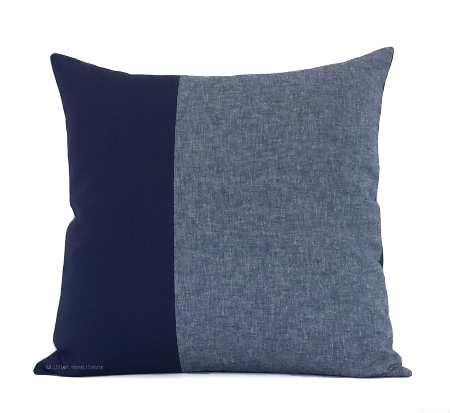 Navy Chambray Colorblock Pillow Cover 20x20 Modern Home