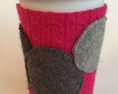Hot Pink Coffee Cardi - polka dot cup cozy made from recycled sweaters - perfect teacher gift!