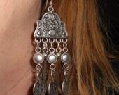 Bohemian earrings, chandelier earrings, coin earrings, long earrings, jewelry gift,  gypsy jewelry