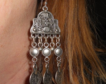 Bohemian earrings, chandelier earrings, coin earrings, long earrings, jewelry gift,  gypsy jewelry