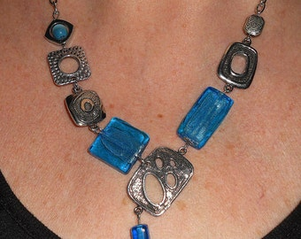 Blue statement Necklace, gift for women, Silver link bib necklace, blue asymmetrical necklace, funky jewelry