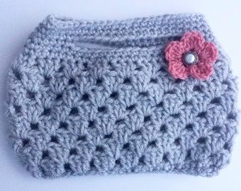 Crochet clutch, hand bag, purse, with flower embellishment.  Pearl button center.