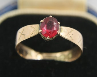 Art Deco Ring 9k Gold Ring 9ct Gold Ring 9 Carat Gold Ring Ruby Paste Stone Band Ring Solitaire Ring Engagement Ring US Size 5.75 UK Size L