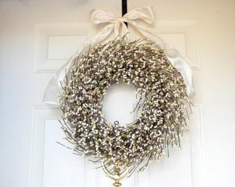 White Christmas Wreath - gold glittered white raspberries - Holiday front door decor - Merry Christmas