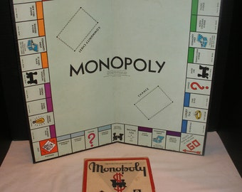 Vintage 1952 Monopoly Game Pieces and Board