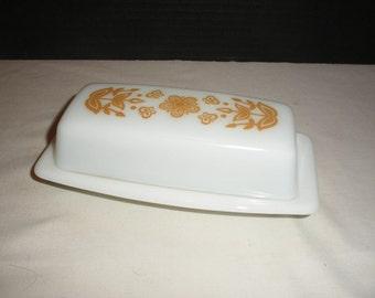 Pyrex Vintage Harvest Gold Flowers Butter Dish