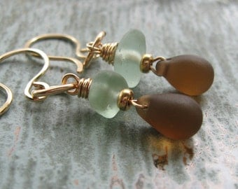 Gold Filled Pale Green Seaglass and Brown Czech Glass Teardrop Earrings, The Cortez Collection, 14K Gold Fill Earrings, Genuine Seaglass