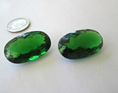 Sale - Deluxe Green Amethyst Gemstones - Matching Pair - Oval Shape Focals - Earring Pair - Large 47.95 Carat
