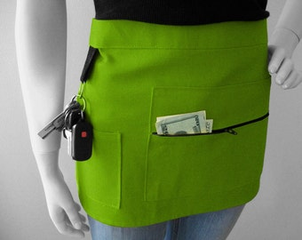 Green Apron - Heavy Duty Craft Shop Apron - Unisex Apron - Waitress Apron