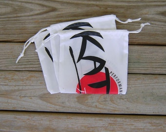 Three Medium Katana Parachute Logo Drawstring Bags White Drawstrings