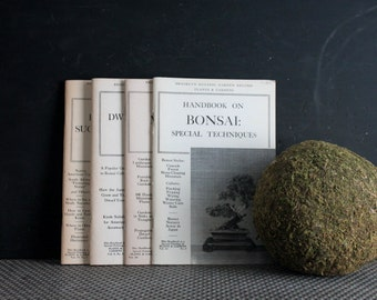 Set of Four Vintage Brooklyn Botanical Garden Plant Books, 1960s Paperback Bonsai and Succulent Books