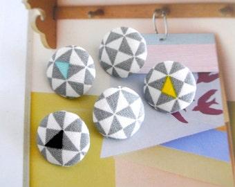 Handmade Modern Gray White Yellow Geometric Minimalist Fabric Covered Buttons, Small Geometric Fridge Magnets, Flat Backs, 0.8 Inches 5's