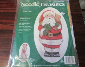 Needle Treasures Needlepoint Kit Santa Claus Pillow Doll 06829 Sealed and Ready to Stitch Includes Bonus Ornament