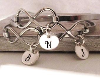 Bridesmaid Infinity Bracelets - Personalized Bracelet - Hand Stamped Bangle Bracelet - Set of 4 Initial Bracelets - Bridesmaid Bracelets