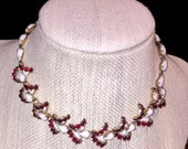 "13"" Vintage Fancy Choker Milk Glass Red Rhinestones"