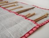 Linen Knitting Needle Case with Pink Polka Dot Trim- Gift for Knitter