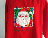Vintage Christmas Sweatshirt, Red Santa Holiday Sweatshirt, 1980s Santa Sweatshirt, Ugly Christmas Sweater Happy Holidays Festive Sweatshirt